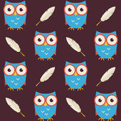 Flat Vector Seamless Pattern Owls with Feathers — Stock Vector
