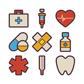 Health Care and Medical Items Modern Flat Icons Set — Stock Vector