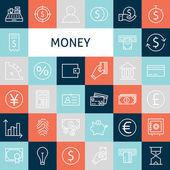 Vector Flat Line Art Modern Money and Finance Icons Set — Stock Vector