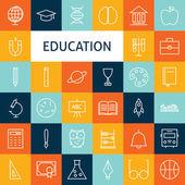 Vector Flat Line Art Modern School and Education Icons Set — Stok Vektör