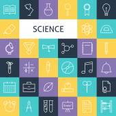 Vector Flat Line Art Modern Science Education and School Icons S — Vector de stock