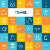 Vector Flat Line Art Modern Travel Vacation and Resort and Schoo — Stock Vector