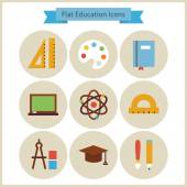 Flat School and Education Icons Set — Vetor de Stock