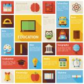 Flat Design Vector Icons Infographic Education Concept — Stock Vector