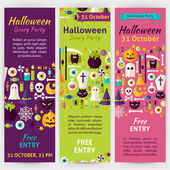 Halloween Party Holiday Vector Invitation Template Flyer Set — Stock Vector