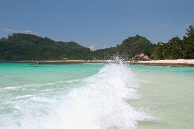 Wave in sea gulf. Baie Lazare, Mahe, Seychelles