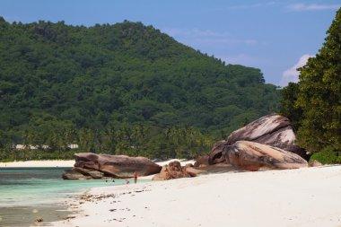 Sandy beach and basalt educations. Baie Lazare, Mahe, Seychelles