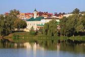 Lake and Apanaevskaya Mosque. Kazan, Tatarstan — Foto de Stock