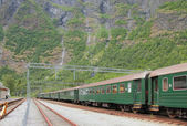 Tracks and passenger train. Flom, Norway — Foto Stock