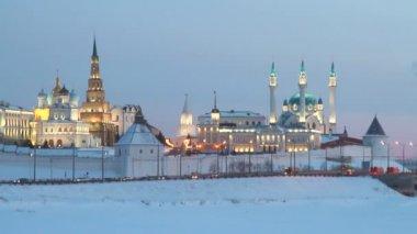 Kazan Kremlin in winter evening — Stock Video