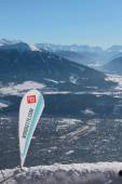 Mobile flagstaff with advertizing of ski resort of Nordkette. Innsbruck, Austria — Stock Photo
