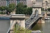 Chain Secheni Bridge in Budapest. Hungary — Stock Photo