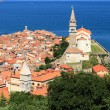 City, temple, sea. Piran, Slovenia — Stock Photo #68493343