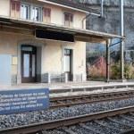 """Do not cross the railway lines"" at railway station. Switzerland — Stock Photo #69239155"