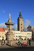 Fountain in square. Ceske Budejovice, Czech Republic — Stock Photo