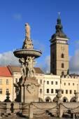 Public fountain in square. Ceske Budejovice, Czech Republic — Stock Photo
