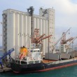 Elevator and bulk carrier with grain, seaport. Savona, Italy — Stock Photo #77487366