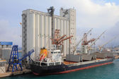 Elevator and bulk carrier with grain, seaport. Savona, Italy — Stock Photo