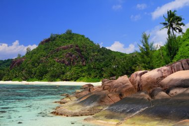 Coast of gulf Lazare (Baie Lazare). Mahe, Seychelles