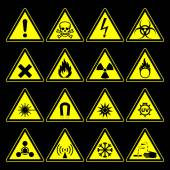 Hazard symbols and signs collection — Stock Vector