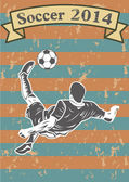 Soccer players silhouette or sports shadow poster — Stock Vector