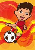 Cartoon soccer player — Stock Photo