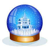 Glass snow globe — Stock Vector