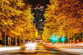 Yellow autumn trees and tall black hotel at night in Tampere, Fi — Stock Photo
