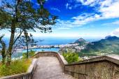 View into Rio de Janeiro from the steps at Christ the Redeemer s — Stock Photo