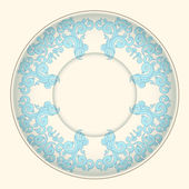Beige background, blue ornament made in oriental style. — Stock Vector
