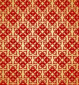 Golden background, red seamless pattern. — Stockvector