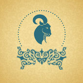 Blue ornament, a goat. Golden background. — Stock Vector