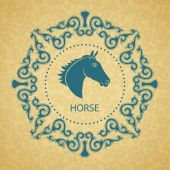 Horoscope horse. Golden background. — Vetor de Stock