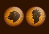Horoscope, cock, monkey. Golden background. — Stock Vector