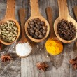 Spices. Spice in Wooden spoon. Herbs. Curry, Saffron, turmeric, cinnamon and other on a wooden rustic background. Pepper. Large collection of different spices and herbs. Salt, paprika. — Stock Photo #76899937