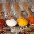 Spices. Spice in Wooden spoon. Herbs. Curry, Saffron, turmeric, cinnamon and other on a wooden rustic background. Pepper. Large collection of different spices and herbs. Salt, paprika. — Stock Photo #76899989