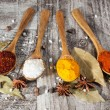 Spices. Spice in Wooden spoon. Herbs. Curry, Saffron, turmeric, cinnamon and other on a wooden rustic background. Pepper. Large collection of different spices and herbs. Salt, paprika. — Stock Photo #76900021
