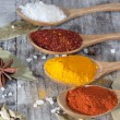 Spices. Spice in Wooden spoon. Herbs. Curry, Saffron, turmeric, cinnamon and other on a wooden rustic background. Pepper. Large collection of different spices and herbs. Salt, paprika. — Stock Photo #76900079
