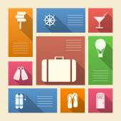 Colored vector icons for vacation with place for text — Stock Vector