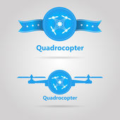 Two blue vector signs of quadrocopter top view — Stock Vector