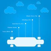Flat vector illustration for technical characteristics of longboard — Stock Vector