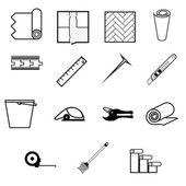 Vector iconen voor het werken met linoleum — Stockvector