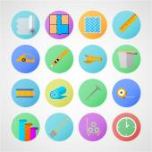 Circle vector icons for linoleum flooring service — Stock Vector
