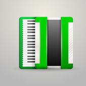 Vector illustration of green accordion — Stock Vector