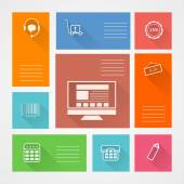 Flat square vector icons for web store — Stock Vector