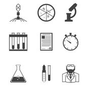 Black vector icons for microbiology — Stock Vector