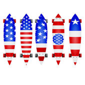 Vector illustration of american flag longboards — Stok Vektör