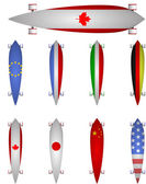 Vector illustration of world flags longboards — Stockvektor