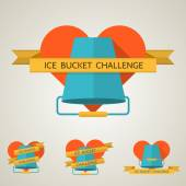Flat concept vector illustration for Ice Bucket Challenge — Stock Vector