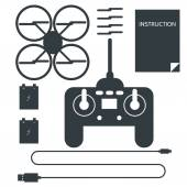 Complete set for quadrocopter. Flat icons vector collection. — Stock Vector